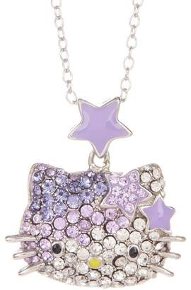Hello Kitty Sterling Silver White & Purple Pave Crystal Pendant Necklace