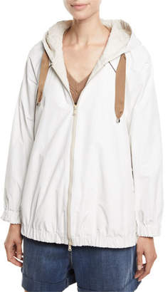 Brunello Cucinelli Monili-Seamed Taffeta Zip-Front Jacket