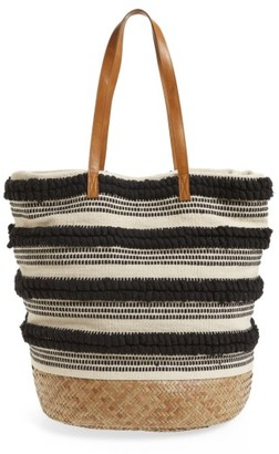 Sole Society Woven Bottom Tote - Black $79.95 thestylecure.com