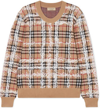 Burberry Printed Checked Merino Wool Sweater - Beige