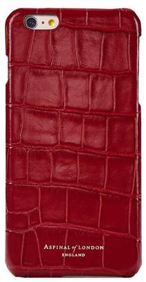 Aspinal of London Iphone 7 Plus Leather Cover In Deep Shine Red Croc With Cream Suede