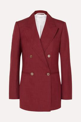 CASASOLA - Double-breasted Wool, Silk And Linen-blend Blazer - Crimson