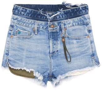 Tortoise Denim 'Maya' waist panel frayed cuff denim shorts