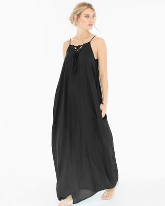 Elan International Lace Up Neck Cover Up Maxi Dress Black