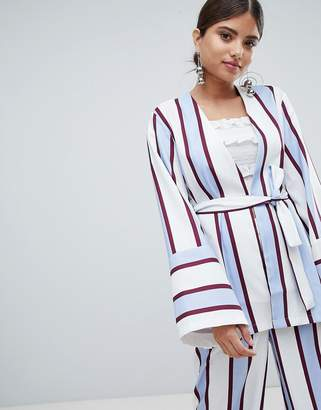 Missguided Striped Belted Blazer Jacket