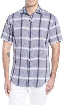 Bugatchi Shaped Fit Check Linen & Cotton Sport Shirt
