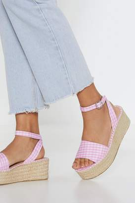 Nasty Gal Square-well Gingham Woven Sandals