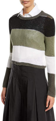 Brunello Cucinelli Crewneck Long-Sleeve Striped Pullover Sweater