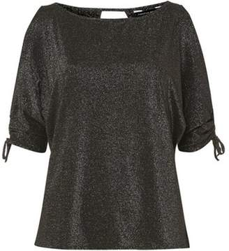 Dorothy Perkins Womens Black Silver Glitter Cold Shoulder Top