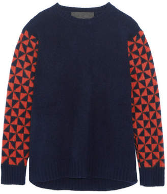 The Elder Statesman Intarsia Cashmere Sweater - Navy