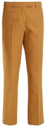 Etro Violante Geometric Pattern Stretch Cotton Trousers - Womens - Green Multi