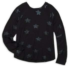 Terez Girl's Black Foil Star Tee