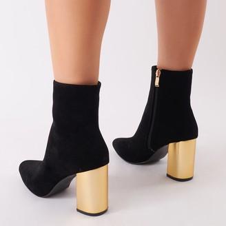 17ccdad3448 Public Desire Zodiac Statement Block Heel Ankle Boots Faux Suede