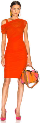 MSGM Ruched Midi Dress in Orange | FWRD