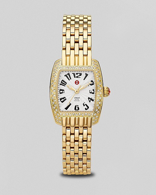Michele Women's Urban Petite Diamond Gold Bracelet Watch
