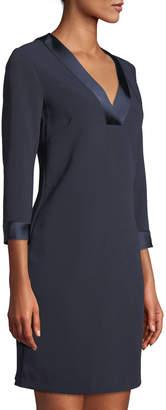 Tahari ASL V-Neck Satin-Trim Shift Dress