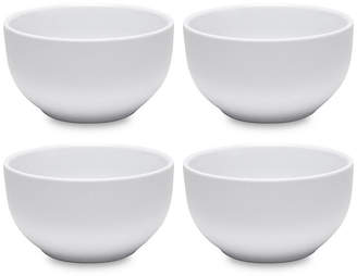 Q Squared Set of 4 Diamond Round Melamine Cereal Bowls - White