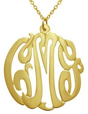 "7/8"" Personalized Script Pendant w/ Chain, Sterling/Plated"