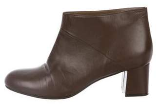 Marni Leather Round-Toe Ankle Boots Brown Leather Round-Toe Ankle Boots