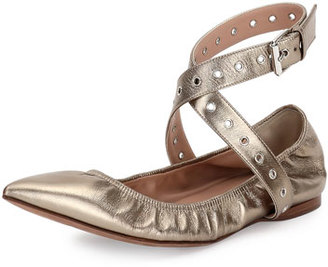Valentino Love Latch Metallic Ankle-Wrap Flat, Alba $795 thestylecure.com