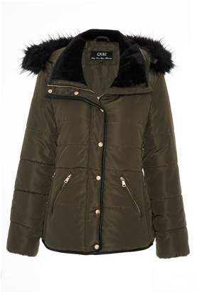 Quiz Khaki Padded Fur Trim Jacket