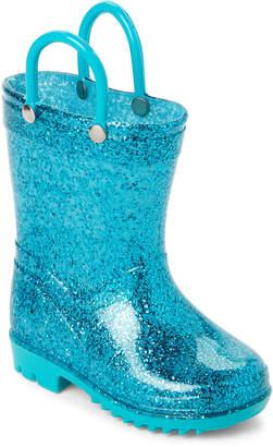 Lilly Of New York (Toddler/Kids Girls) Aqua Glitter Rain Boots