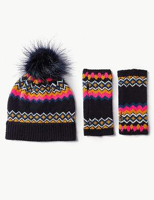 Marks and Spencer Fairisle Print Hat with Gloves Set