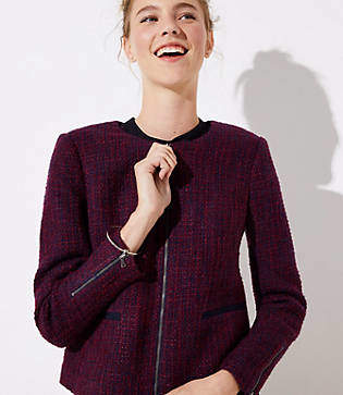 LOFT Tweed Zip Jacket