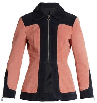 ALEXACHUNG Colour Block Suede Jacket - Womens - Navy Multi