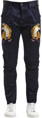 Elwood Tiger Print Tapered Denim Jeans