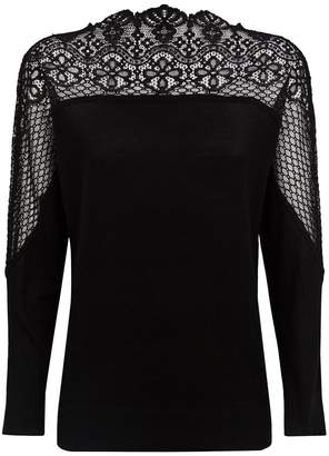Claudie Pierlot Wool Lace Insert Sweater