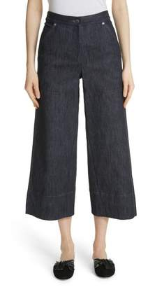 Yigal Azrouel Panel Front Wide Leg Crop Jeans