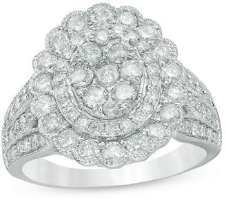 Zales 2 CT. T.W. Composite Diamond Flower Frame Vintage-Style Ring in 10K White Gold