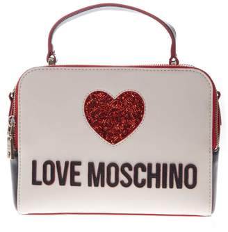 Love Moschino Two Color Faux Leather Logo Bag