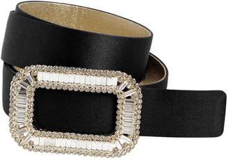 Roger Vivier 30mm Pilgrim Crystal Buckle Silk Belt