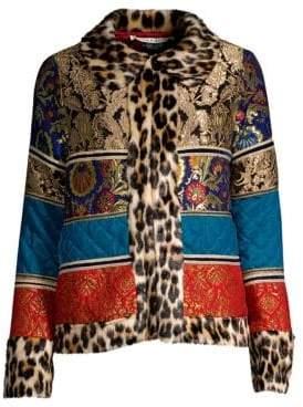 Alice + Olivia Glennie Leopard-Trim Faux-Fur Patchwork Jacket