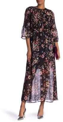 ECI 3\u002F4 Bell Sleeve Smocked Maxi Dress