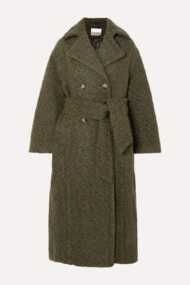 Ganni Oversized Double-breasted Wool-blend Bouclé Coat - Army green