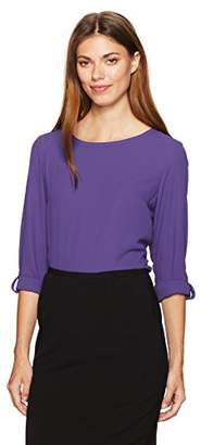 Nine West Women's Solid Roll Tab Sleeve Crepe Blouse
