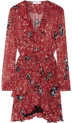 IRO Vilia Ruffled Printed Chiffon Wrap Mini Dress - Red