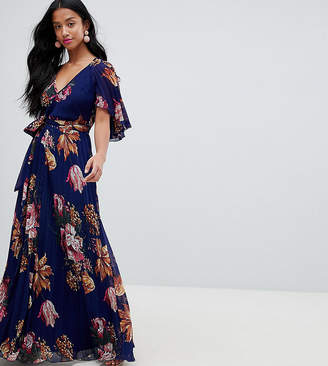 Asos DESIGN Petite pleated maxi with flutter sleeve in floral print