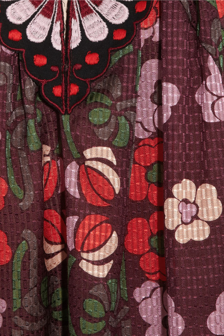 Anna Sui Morning Glory cotton and silk-blend mini dress