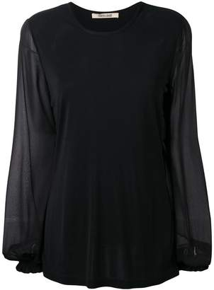 Roberto Cavalli sheer sleeve blouse