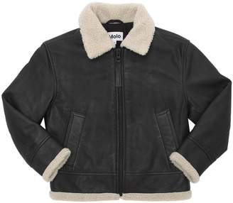 Molo Shearling & Leather Bomber Jacket