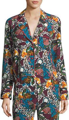 Veronica Beard Penelope Button-Front Multi-Print Blouse