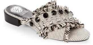 Vince Camuto Black & White Noritta Embellished Slide Sandals