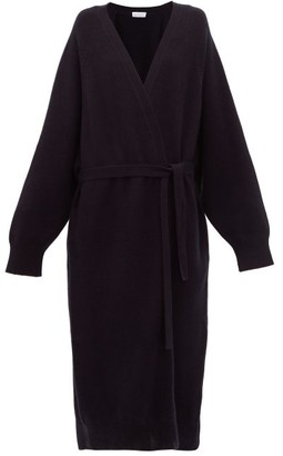 Raey Long Shawl Belted Cashmere Cardigan - Womens - Navy