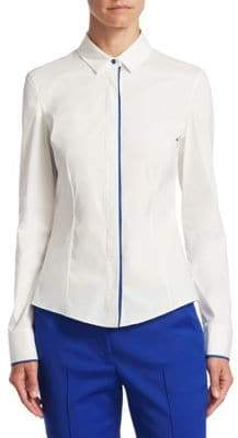 Akris Punto Piped Button-Front Blouse