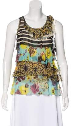 Jean Paul Gaultier Soleil Ruffled Floral Top