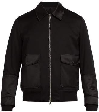 Alexander McQueen Satin Trim Cotton Bomber Jacket - Mens - Black